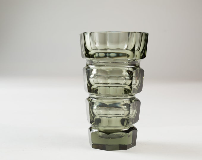Small Moser Smoked and Cut Glass Vase - Octagonal Grey Glass Vase By Josef Hoffmann - Mid Century Modern Norwegian Home Decor
