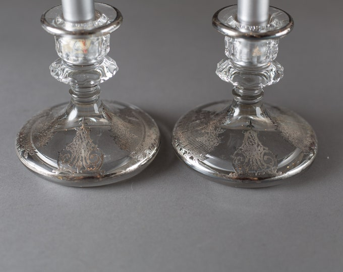 SIlver Candlestick Holders - Glass with Ornate Silver Overlay Dinner Table Decorative Metallic Silver Plated  Christmas Decor