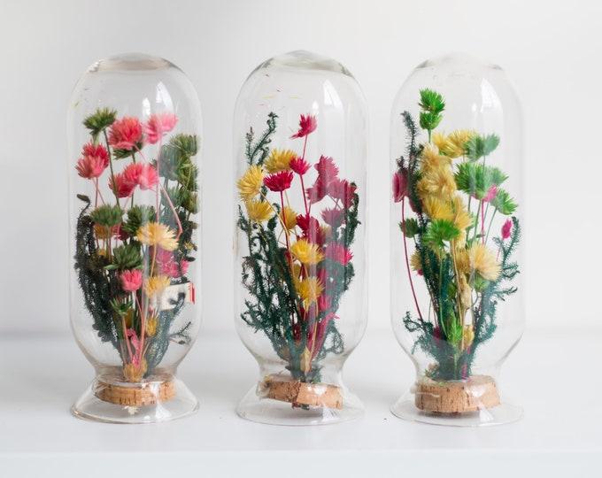 Vintage Cased Bouquet - Glass Bubble and Floral Folk Art Arrangement - Bubble Glass with Flowers