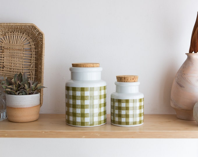 Vintage Canisters - Coffee and Tea canister Set - Diner Style Cork Top Green and White Plaid Ceramic Kitchen Jar Storage Containers