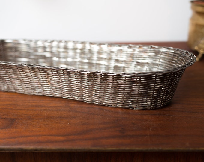 Vintage Silver Plated Basket - Woven Metal Decorative Bowl