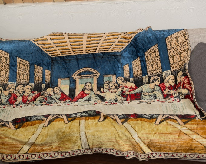 Vintage Last Supper Tapestry Wall Hanging - 1960's Jesus and Disciple Religious Catholic Christian Biblical Wall Art
