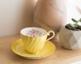 Vintage Bone China Teacup - Aynsley Tea cup and Saucer with Yellow and Floral Flower Pattern - Made in England
