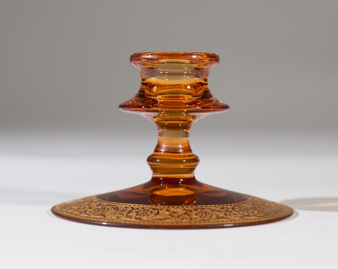 Amber Candlestick Holder - Depression Glass with Ornate Painted Base - Dinner Table Decorative Thanksgiving Christmas Decor