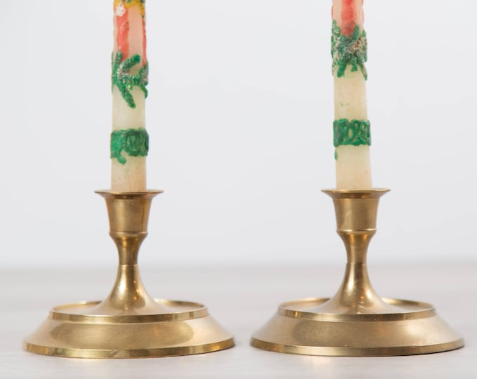 Pair of Vintage Brass Candlestick Holders with Vintage Christmas Holiday Candles