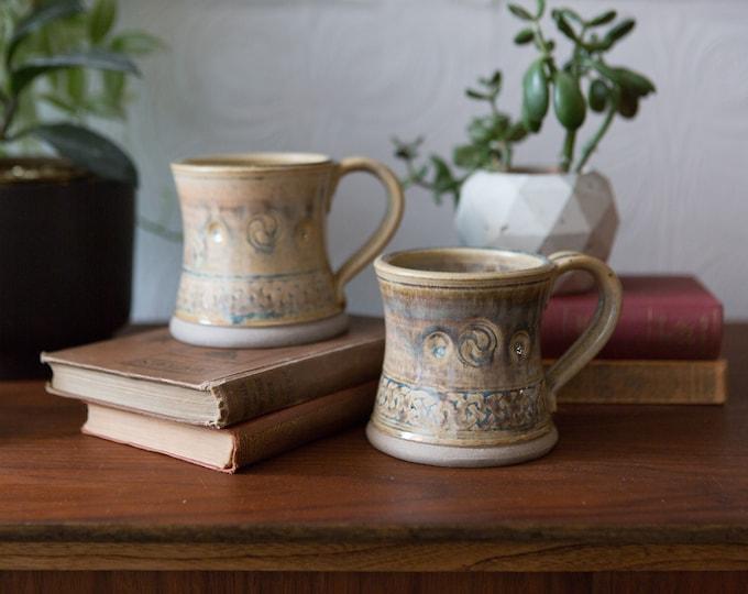 Ceramic Handmade Mugs - Pair of Greyish Studio Pottery Coffee Mugs - Ceramic Planter - Hogwarts Style Mugs
