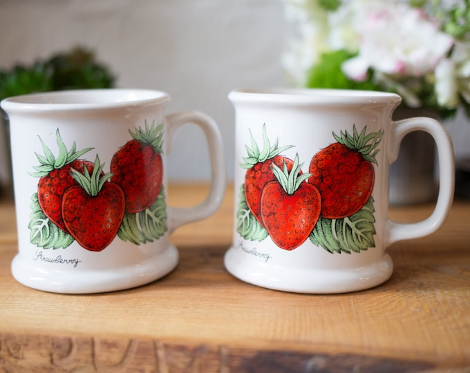 Vintage Strawberry Mugs / Pair of Heavy Ceramic Mugs with Strawberry and Leaves Illustration - Red and Green and White
