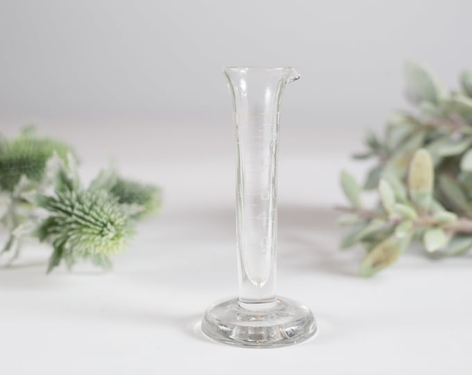 Vintage Chemical Beaker - Hand Etched Measuring Cup Glassware