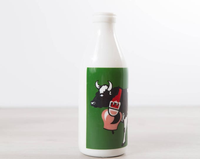 Vintage Milk Bottle - 32oz White Milk Glass Bottle with Cow - Product of Portugal - Portuguese Milk Bottle