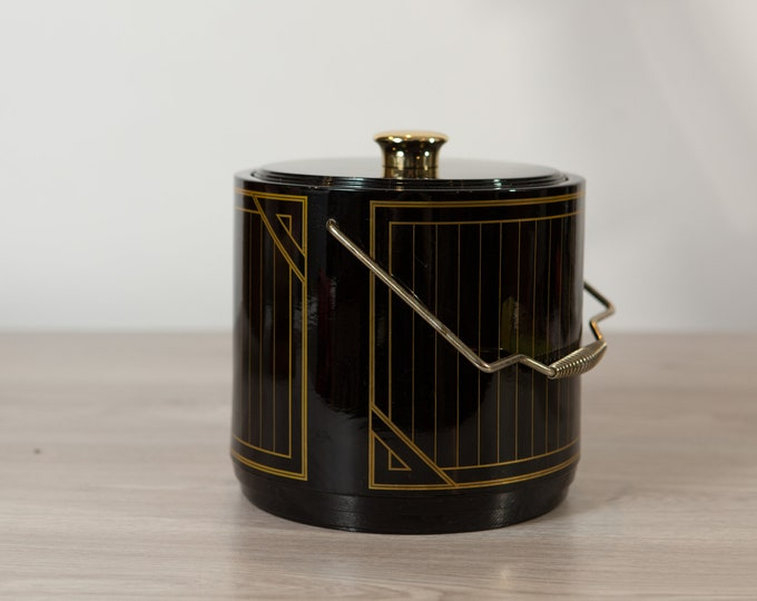 Vintage Ice Bucket - Black Art Deco Gold Pinstripe Barware - Mid Century Modern Hollywood Regency Serving Bucket Made in Japan by Toyo-Algar