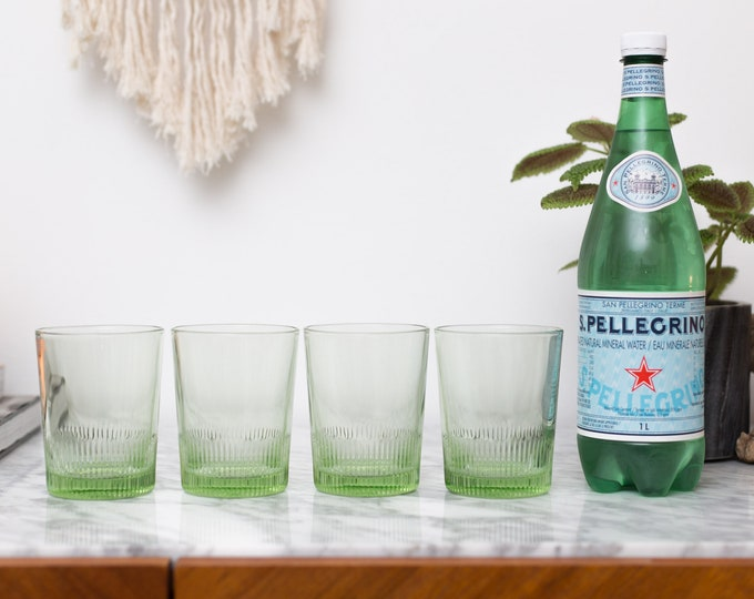 Vintage Green Glasses - 4-Piece Set of Tumblers - Cocktail Bar Glasses - Mother's or Father's Day Gift