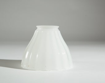 Vintage Glass Shade - Translucent White Ruffled / Pleated Milk Glass Pendant Chandelier Shade for Ceiling Fan Light Fixture or Lamp