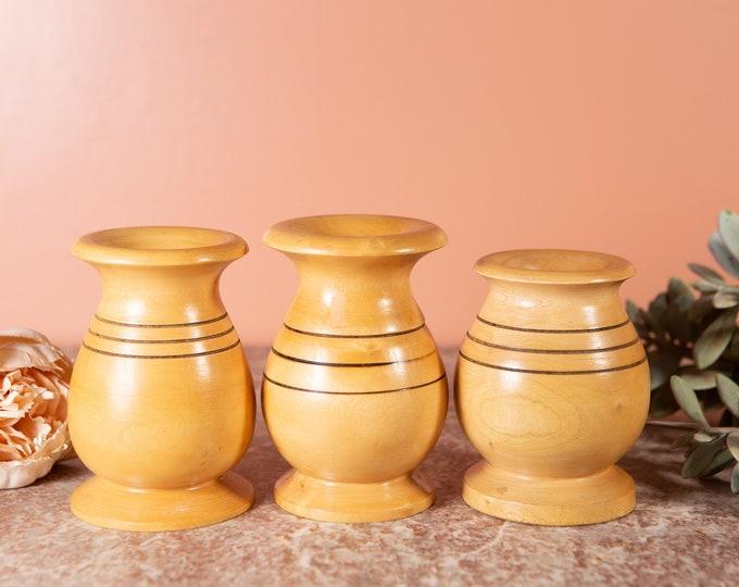 3 Vintage Wood Vases - Small Round Carved Wood Bud Vases