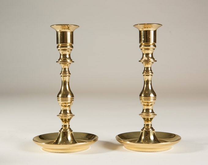 Brass Candlestick Holders - Pair of Vintage Baldwin 'Forged in America' Table Centrepieces - Christmas Party Hollywood Regency Decor