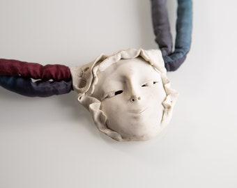 Vintage Ceramic Pendant Necklace of Female Face - Handmade Figural Women's Necklace