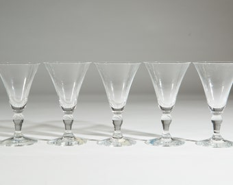 Swedish Crystal Barware - 5 Crystal Glass Sweden Aperitif Glasses - Small Sipping Liquor Glasses - Mid-Century Boho Modern