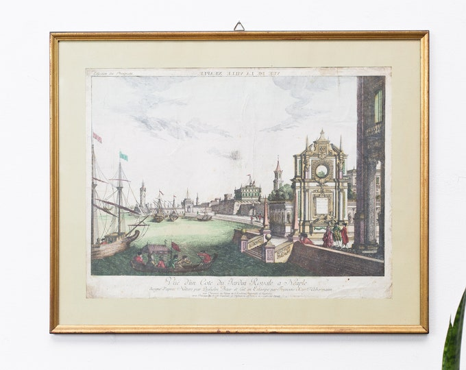 Antique Neaples Engraving - Framed French Print titled Vuë De La Ville Neaple -River and Boat Royal Historic Artwork Illustration circa 1750