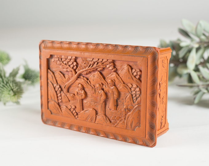 "Antique ""Oriental Lacquer"" - Orange Coloured Chinese Carved Lacquered Ware Gift Box  - Vintage Asian Art"