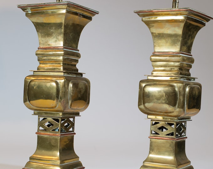 Brass Table Lamps / Vintage Mid Century Modern Asian Style Hollywood Regency Accent Lamps / Gold Colored Living Room Side Table Lamps