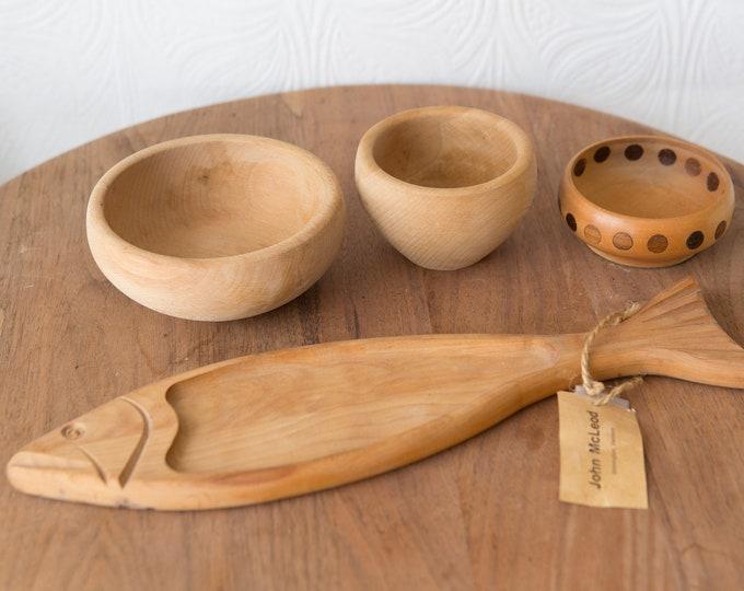 Teak Salad Bowl Set - 4 Vintage Solid Exotic Wood Food Safe Serving Appetizer Hand Carved Hardwood Danish Modern Nordic Space Age Bowls