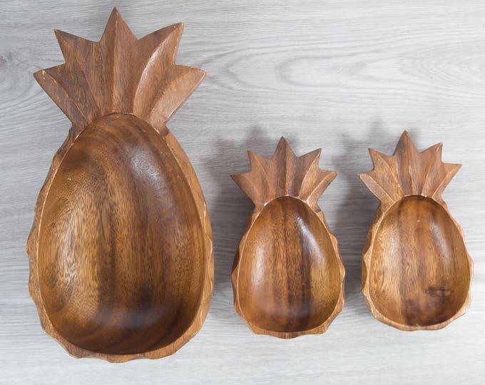 Wood Pineapple Salad Bowl Set / Vintage Solid Exotic Monkeypod Food Safe Serving Appetizer Dish Platter/ Hand Carved Tropical Hawaiian Aloha