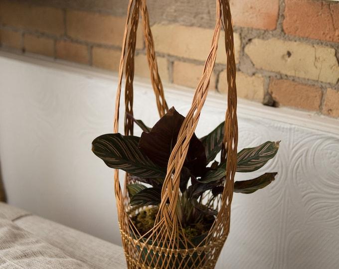 Woven Wicker Baskets - Vintage Rattan Hanging Plant Pot Baskets - Hand Woven Rustic Boho Modern Decor - Mid Century Modern  Minimalist