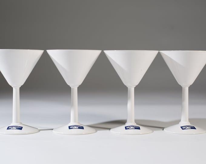 White Martini Glasses - Set of 4 Leonardo 4oz Vintage Martini Glasses - Mid Century Cocktail Glasses for Christmas Party