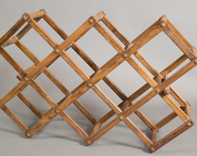 Vintage Wine Rack - Wood Wine Holder - Folding Collapsible 6-bottle Boho Wine Rack