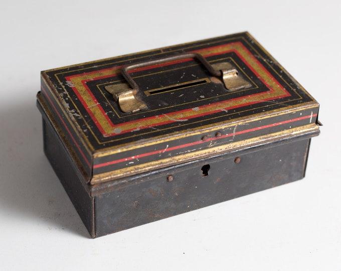 Antique Metal Cash Box - Art Deco Gold and Black Banker's Box - Coins Petty Cash Storage Box - Money Savings Change Box