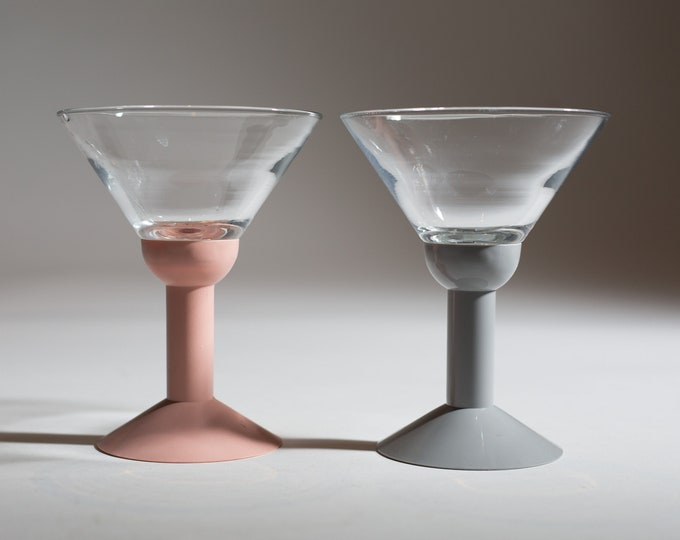 2 Vintage Martini Glasses with Plastic Pink and Grey Base- 5.5 oz Fluted Cocktail Glasses with White Plastic Bases