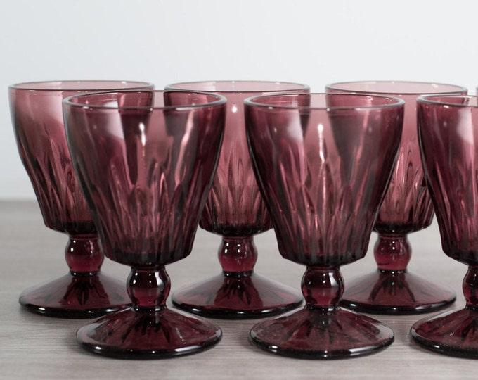 6 Hazel Atlas Morooco Amethyst Purple Sherry or Wine Apéritif Glasses with Diamond Pattern / Vintage Boho Bohemian Glasses