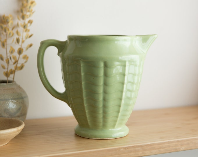 Green Ceramic Pitcher - Vintage Robinson Ransbottom Art Deco Style Pottery Jug with Handle - Classic Pastel Soft Mint Water Jug