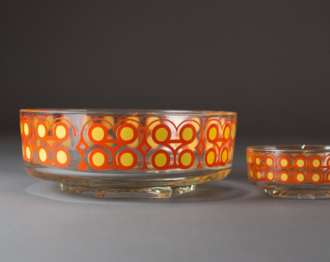 Vintage Glass Bowls - 2 Mid Century Modern Orange and Yellow Kitsch Populuxe Pattern Snack Dinner or Dessert Bowls