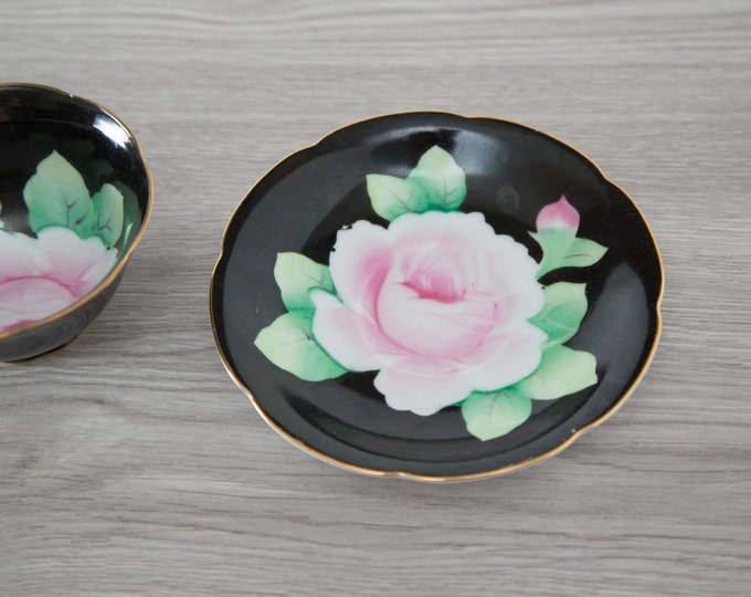 Hand Decorated Bone China Tea Cup and Saucer / Black with Pink Flowers and Green Leaves / Made in Japan
