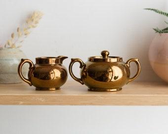 Vintage Albany & Harvey Potteries Burslem Ceramic Creamer / Sugar in Bronze - Made in England - Lustreware Tea Set