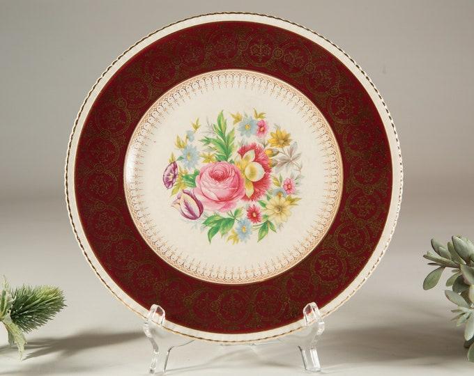 Vintage Dinner Plate - Simpsons Potters Ambassador Ware Floral Plate - Flower Artwork on Ceramic Plate