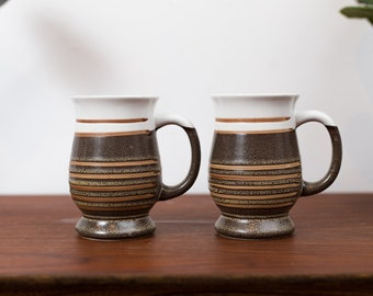 Vintage Studio Mugs- Pair of Striped Pottery Mugs - Brown Ceramic Coffee Mugs - Sediment Style cups