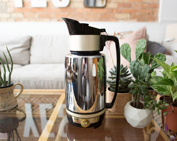 Vintage Coffee Percolator - Cory Jubilee Automatic Percolator - Metal Electric Filter Coffee Maker - Retro Mid Century Modern Chrome Pot