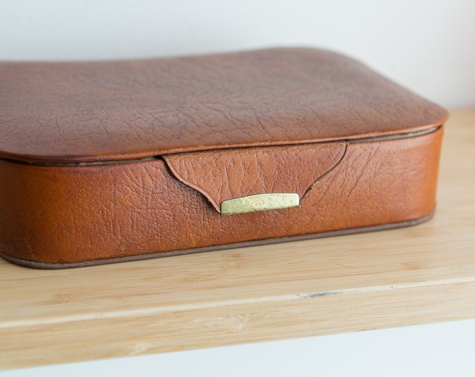 Vintage Leather Jewelry Box - Men's or Women's Tilley Oak Calf Ring or Necklace Storage - Gift for Dad - Gift for Him - Groomsman gift