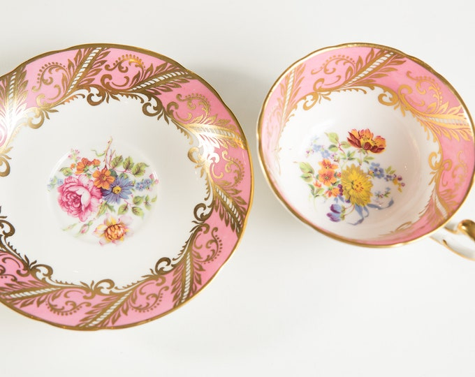 Vintage Bone China Teacup - Pink Paragon Tea cup and Saucer with Floral Flower Pattern- Made in England