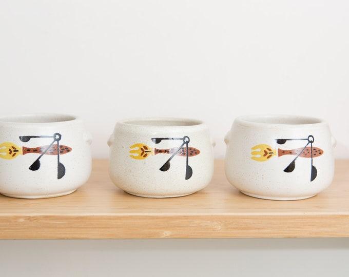 3 Vintage Westbend Bean Pots - Speckled Cream Ceramic Earthy Vintage Boho Mini Cactus Planter with Utensil Motif