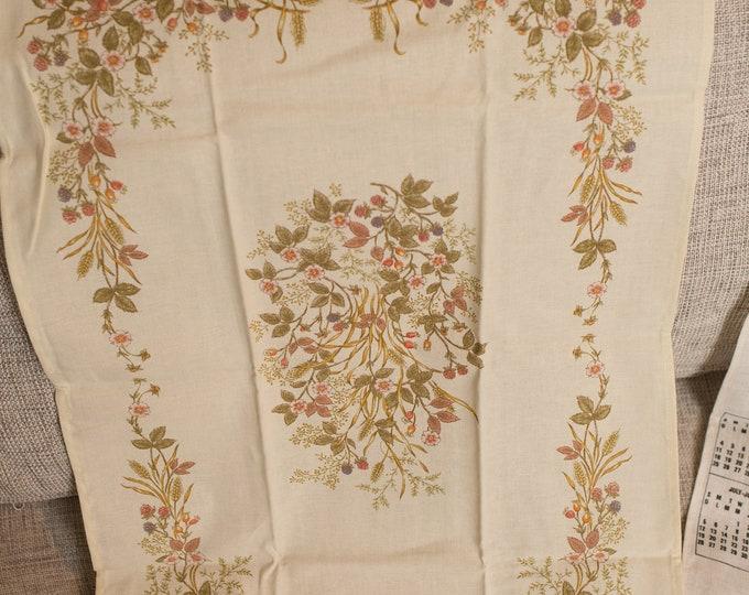 Vintage Tea Towel - 1980's Danish Modern Linen Fabric Cloth