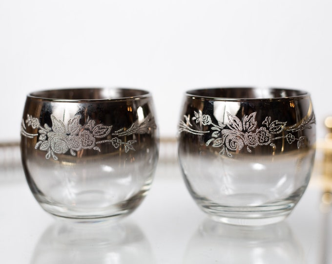 Pair Roly Poly Glasses - 12oz Grey Mirrored Ombre Smokey Stemware with Floral Bridal Pattern - Gray Retro Barware / Glassware with Flowers