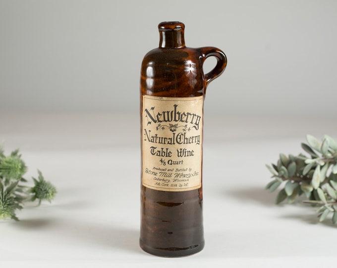Brown Ceramic Bottle - Newberry Natural Cherry Table Wine - 4/5 Quart - Stoneware Bottle - Collectible Rum Liqueur Bottle