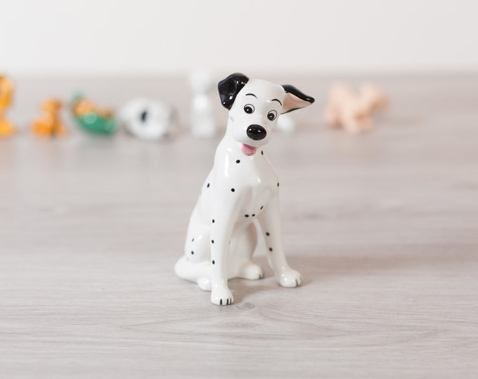 101 Dalmatians Pongo Figurine - Vintage Disney Puppy Porcelain China Glazed Ceramic Novelty Toy Statue - Black and White Spotted Dog