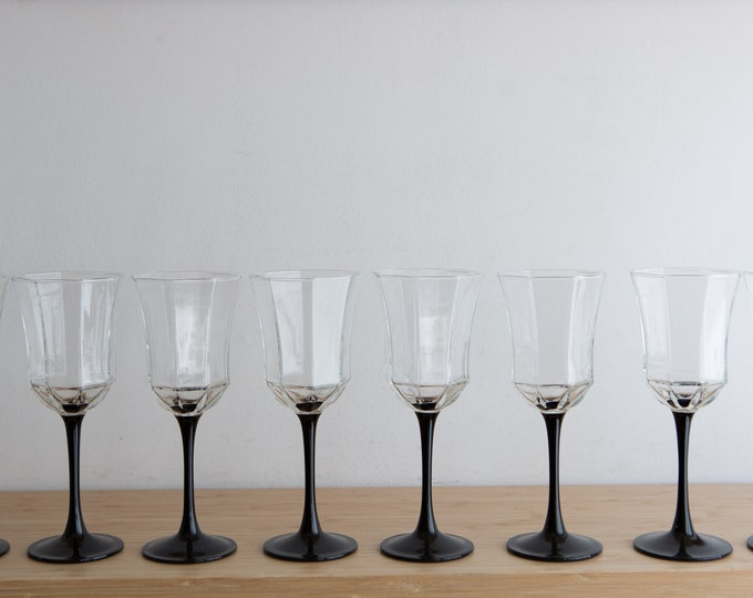 8 Vintage Wine Glasses - 1980's Black Stem Geometric Paneled Cocktail Glasses - New Year's Eve Party / Halloween Celebration Glassware