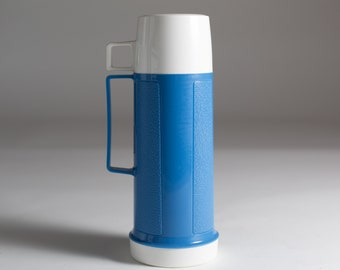 vintage thermos vacuum bottle blue colored dipped glass lined vacuum flask coffee thermos camping travel hot chocolate thermos - Glass Thermos