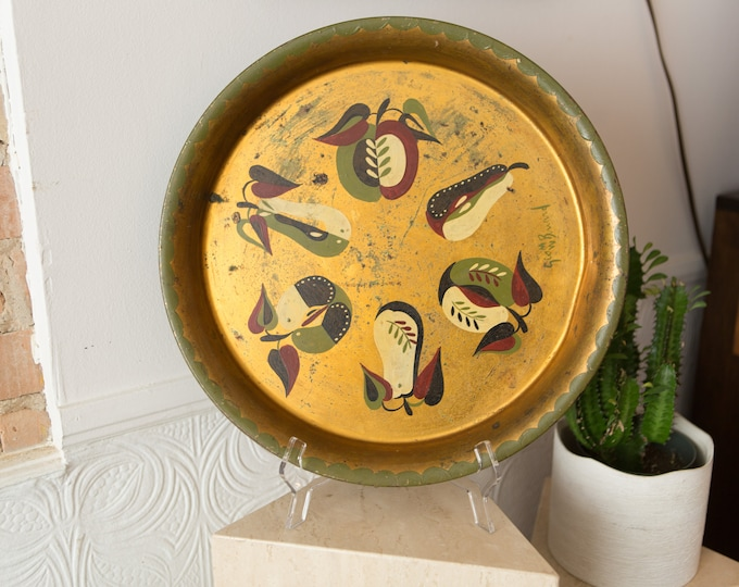 Vintage Gold Metal Tray - George Briard Large Decorative Hand Painted Apples and Pears  Fruit Serving Dish Platter