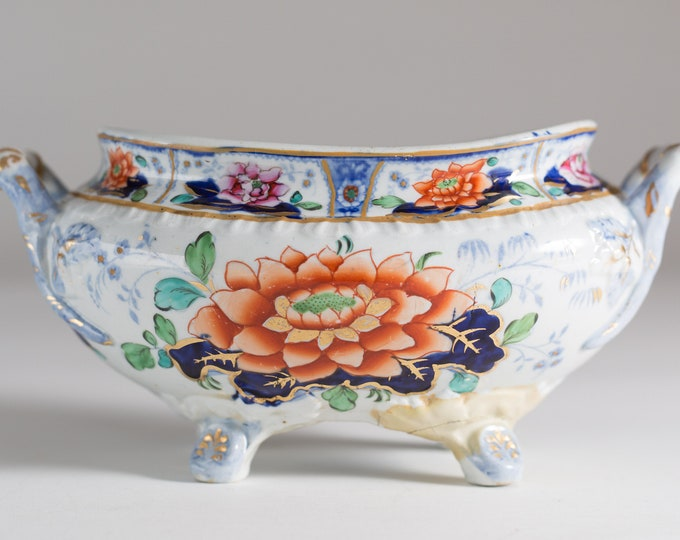 Antique Soup Tureen and Plate - Ceramic Floral Serving Dishes - Ornate flower Pattern Design Stoneware circa 1800's