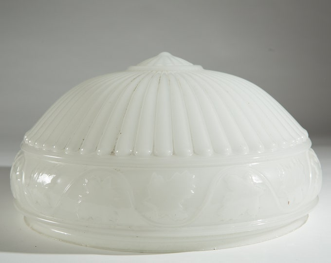 Large White Glass Shade with Pleated Design - Ceiling Pendant Chandelier Shade - Victorian Lamp Replacement Globe - Art Deco / Farmhouse